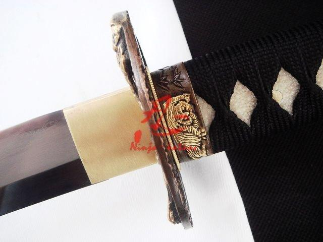 Clay Tempered Sanmai Blade Japanese Katana Tiger Tsuba Geometrical Kissaki Sword