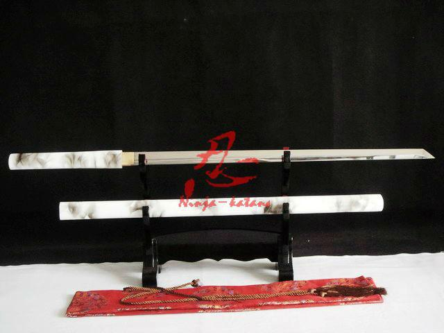 Handmade 9260 Spring Steel Blade Battle Ready White Black Ninja Sword