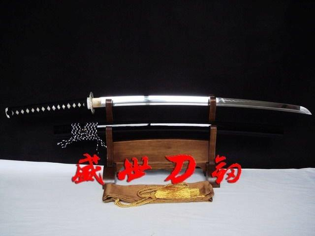 Clay Tempered Japanese Samurai Katana Silver Wave Tsuba Razor Sharp Blade