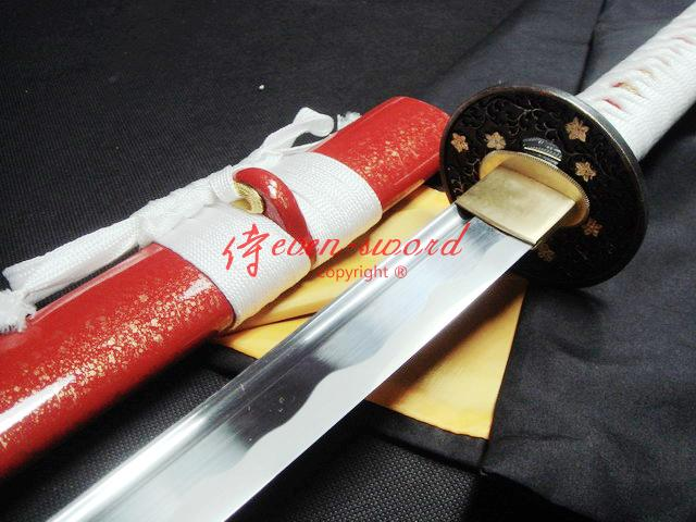 Hand Forged Red Japanese Katana Flower Tsuba Sword Sharpened Can Cut Tatami