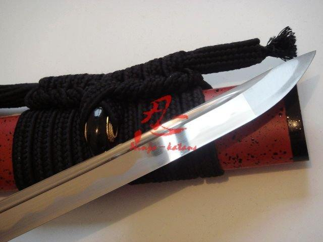 Handforged Japanese Warrior Tsuba Katana Red Saya Blunt Edge
