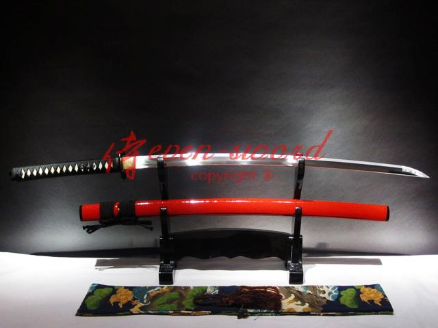 Battle Ready 9260 Spring Steel Japanese Red Katana Carbon Steel Higo Fittings O-Kissaki