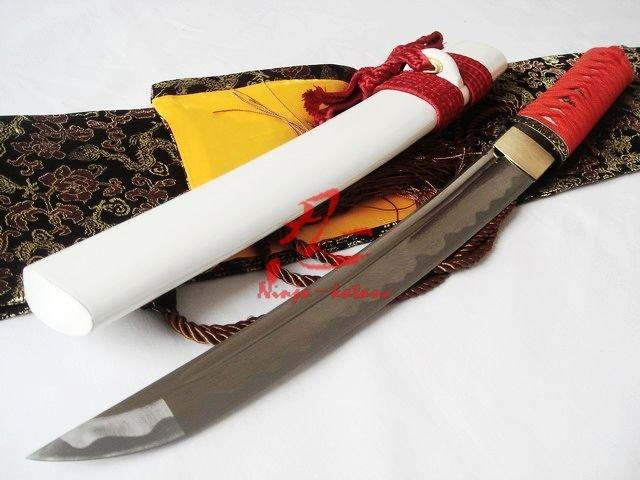 52cm Hand Forge Forged Folded Steel Japanese White Tanto Sword Sharpened Blade