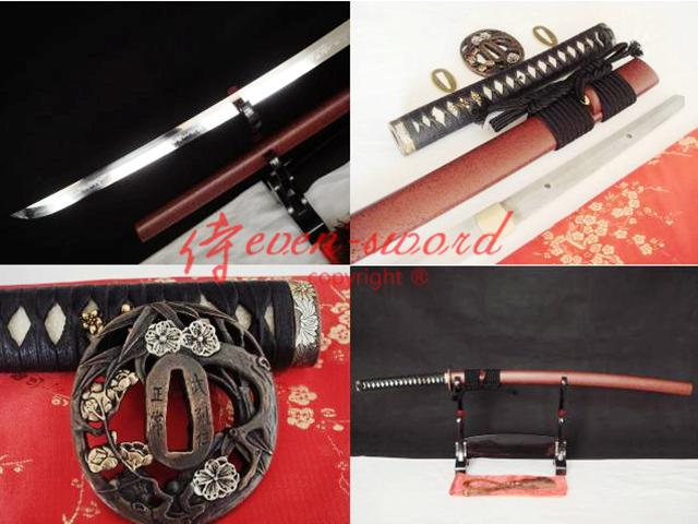 Clay Tempered T-10 Steel Japan Katana Sword Plum Blossom Tsuba Choji Hamon Blade