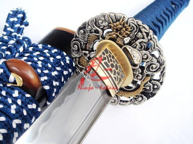 Clay Tempered Japanese Katana Dragon Tsuba Abrasive Sanmai Blade