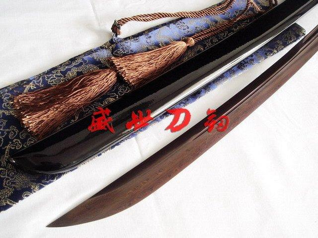 Battle Ready Japanese Naginata Katana Sword Fuji Tsuba Red/Black Foled Steel Blade Sharpened