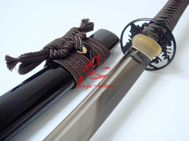 40.6 Handforgeda Black Katana Leaf Tsuba Sharpened Edge
