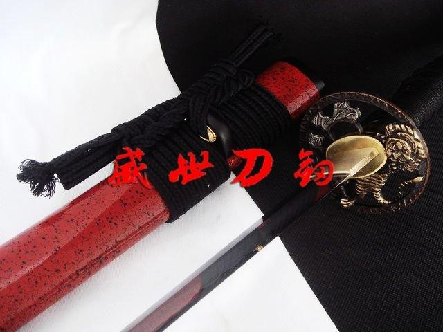 Hand Forged Japanese Red Sword Tiger Tsuba Geometrical Kissaki Kobuse Blade