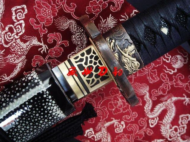 Clay Tempered Japanese Tiger Tsuba Katana Sword Black Sanmai Blade